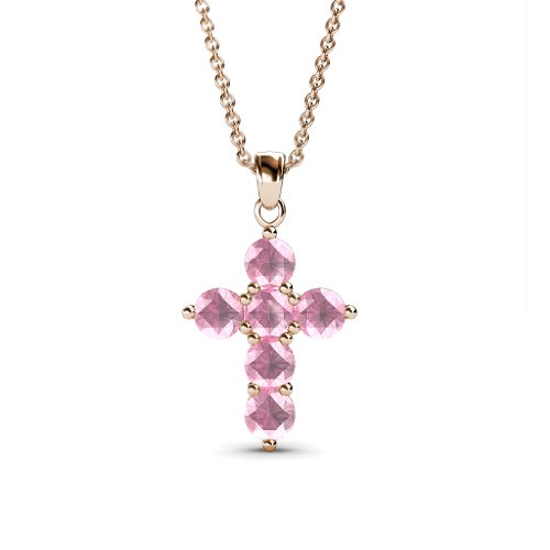 Isabella - 0.66cttw Natural Round Pink Tourmaline Cross Pendant in 14K Rose Gold.Included 18 inches 14K Rose Gold Chain.