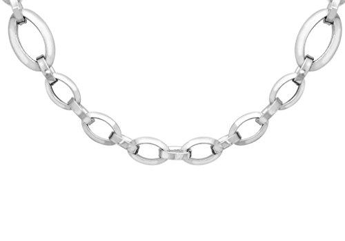 """Or blanc 9carats elliptique et lien ovale collier chaîne 61cm/24"""""""