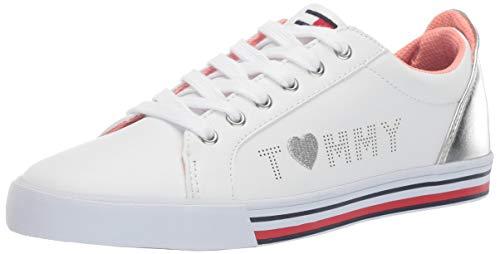 Tommy Hilfiger Girls Kids' Arrin Logo Sneaker White/Silver 2 Medium US Little (Tommy Hilfiger Girl Kids)
