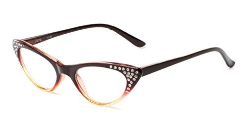 Readers.com | The Paulina +2.50 Reading Glasses - Cat Eye, Full, Plastic Frame for Women (Reading Glasses Rhinestone Brown)