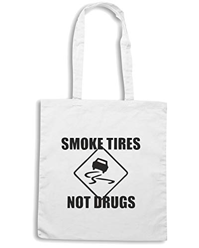 Borsa Shopper Bianca WES0139 SMOKE TIRES NOT DRUGS