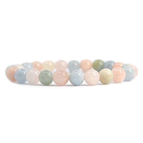 Justinstones Natural Multicolor Morganite Beryl Aquamarine Gemstone 8mm Round Beads Stretch Bracelet 7 Inch Unisex