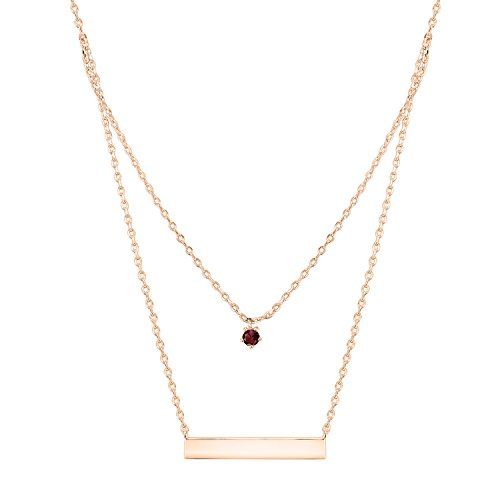PAVOI 14K Rose Gold Plated Swarovski Crystal Birthstone Bar Necklace Pendant Engraveable January
