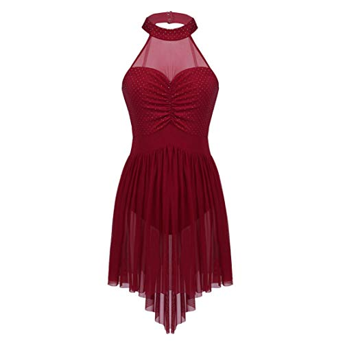 03ce41265 Agoky Women's Halter Lyrical Contemporary Dance Dresses Polka Dots High Low  Skirt Ballet Skating Costumes Wine Red Medium