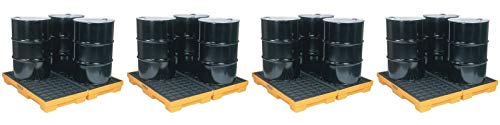 Eagle 1634 Yellow and Black Polyethylene 4 Drum Modular Spill Platform with Flat Top Grating, 10000 lbs Load Capacity, 52.5