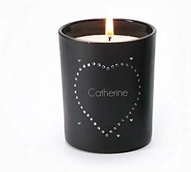 Bougie gravée personnalisable, incrustée de cristaux Swarovski® - Bougie  parfumée à la vanille, noire, 35h de combustion - Coeur - Idée cadeau ...