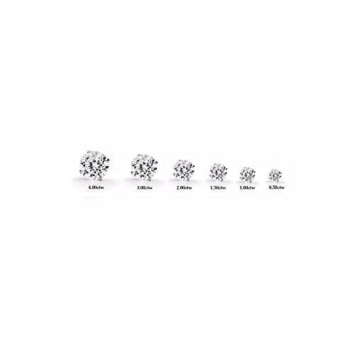 DTLA 14k White Gold Solid Cubic Zirconia Stud Earrings (2 carats) by DTLA Fine Jewelry (Image #3)