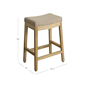 HomePop Blake Backless Counter Barstools, 24-inch, Linen