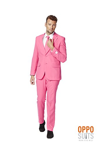 [OppoSuits Mens Mr Pink Party Costume Suit (40)] (Pink Man Suit)