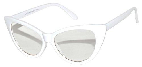 [Stylish Cat Eye Vintage Clear Lens Sunglasses White Frame OWL] (Clear Cat Eye Glasses)