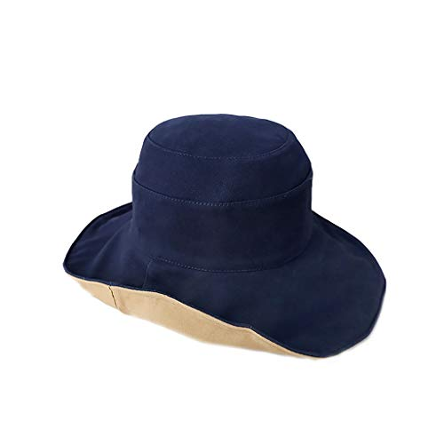 (UV Protection Sun Visor Outdoor Beach Travel Hat Female Big Fisherman Hat Spring and Summer Foldable, Double-Sided (Color : Tibetan Blue Camel Double-Sided))