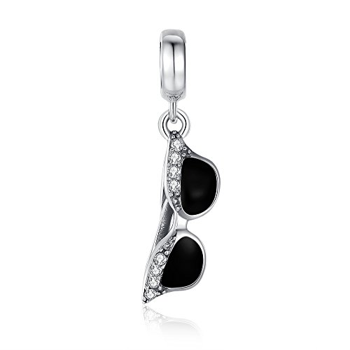 Glamulet Sports Women's 925 Sterling Silver Clear Crystal Black Enamel Sunglass Dangle Charm Fits Pandora Bracelet