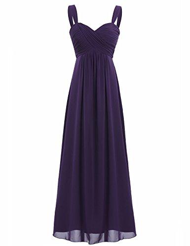 FEESHOW Elegant Women's Chiffon Bridesmaid Long Dress Empire Waist Prom Evening Gowns Dark Purple 12 (Chiffon Empire Waist Prom Dress)