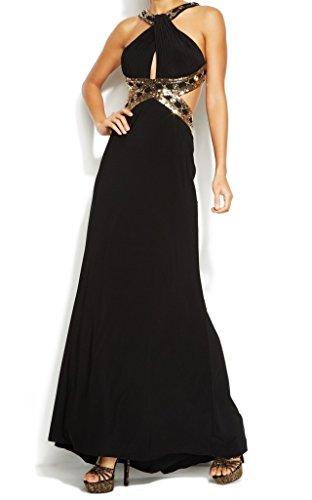 Betsy & Adam Women's Crisscross Halter Gown, Black/Gold, 6
