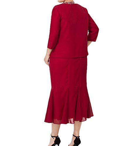 Abendkleider Jaket Schwarz Damen Partykleider Brautmutterkleider mit Chiffon Wadenlang Etuikleider Ballkleider Charmant aus qgPtWUt