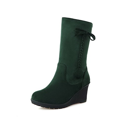 AgooLar Womens Imitated Suede Low-Top Solid Pull-on Kitten Heels Boots Green y3C2GzBqW9