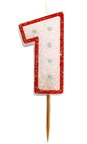 Gift Expressions Birthday Numeral Candle Party Favor with Red Border Silver Dot Glitter for Childerens Birthday & Celebration (1) - Candle China