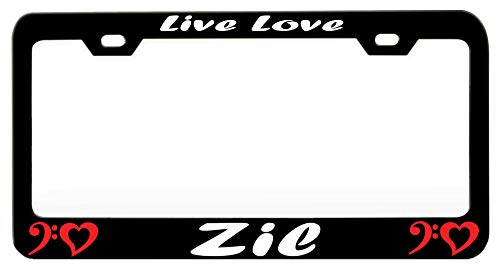 (Live Love Zil Music And Instruments Black Steel Metal License Auto Tag, License Plate Frame)