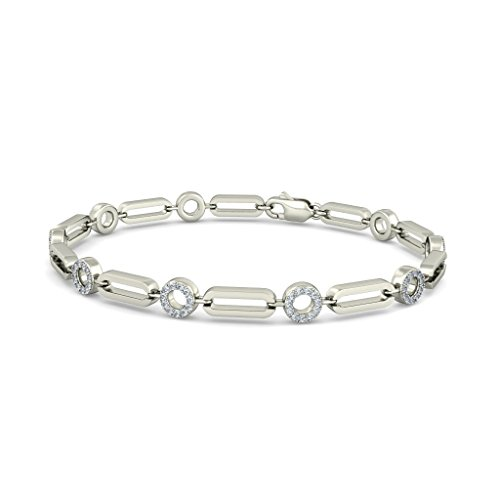18 K Or Blanc, 0,49 carat au total Round-cut-diamond (Ij| SI) Identification-bracelets