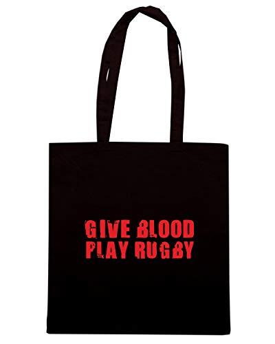 Nera GIVE BLOOD Speed PLAY Shopper RUGBY Borsa LOGO Shirt TRUG0107 RwxRgq1tX