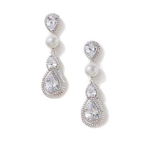 - Formal Affair Pearl Teardrop Dangle Wedding Earrings: CZ Simulated Diamond and Genuine Shell Pearl Pear-Shaped Drop Earrings - Perfect for Bride, Bridesmaids, Mother of The Bride, and Prom