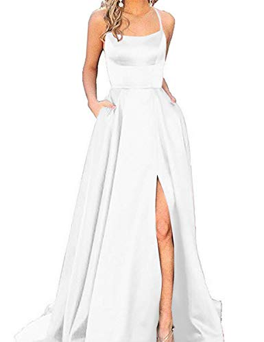 (Halter Prom Dresses Long Split A-Line Spaghetti Evening Gowns with Pockets 2019 White Size)
