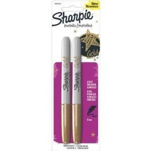 Sharpie Metallic Markers, Gold, Pack of 2 Markers