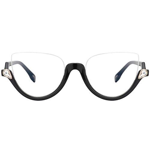 Zeelool New Style Semi-rimless Cat Eye Glasses for Women Felicia VHP0189 (VHP0189-03 Black)]()