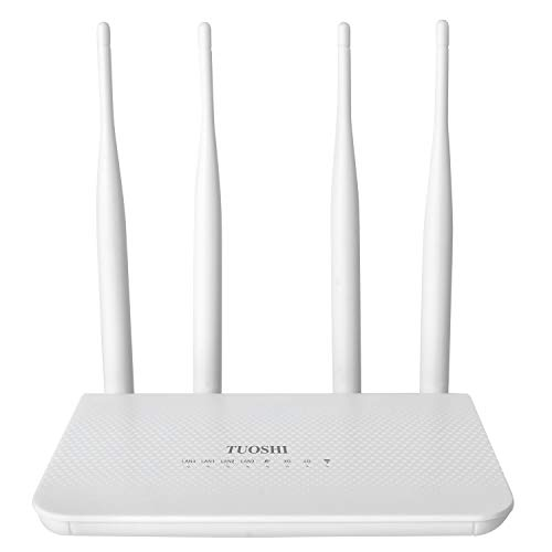 TUOSHI 4G LTE CPE | Unlocked 4G Wireless Router with SIM Card Slot-300Mbps WiFi Router,Support 3G 4G, WiFi Hotspot,Support T-Mobile AT&T (4 Antenna)