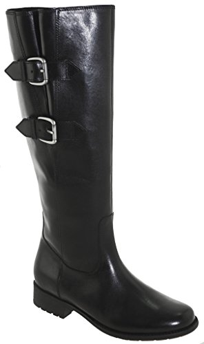 Clarks Women's Plaza Town Riding Boot, Black Leather, 6 M - Plaza Town