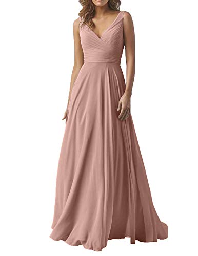 Dusty Rose Elegant Wedding Bridesmaid Dresses Long V-Neck Chiffon Formal Prom Evening Party Dress for Women 2019