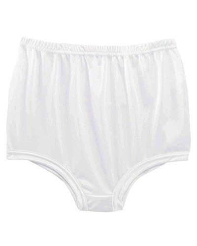 Nylon No Gusset White Panty - National Unpinchable Nylon Panty, White, 6, 3-pk