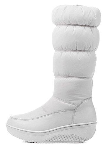 Idifu Womens Comoda Piattaforma Mid Wedge Tacco Zip Up In Pelliccia Sintetica Foderato Metà Polpaccio Stivali Da Neve Giù Stivaletti Bianco
