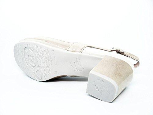 Sandalia mujer PITILLOS, piel color piedra combinado con charol beige - 1091 - 573 Beige