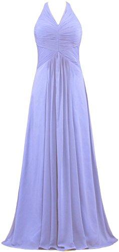 Les Robes De Demoiselle D'honneur Licol En Mousseline De Soie Lavande Longue De Robes De Soirée De Fourmis Femmes