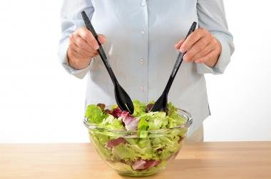 schwarz STONELINE  Salatbesteck 28 cm
