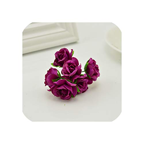 April With You 18pcs Silk Roses Wedding Shoes Headdress DIY Wreath Gift Box Home Wall Decoration Artificial Flower Collage Garland Bridal,Purple