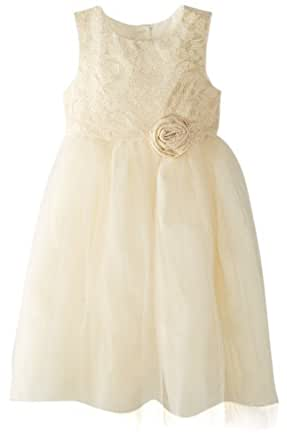 Marmellata Little Girls' Party Dress with Lace Bodice, Ivory, 6X