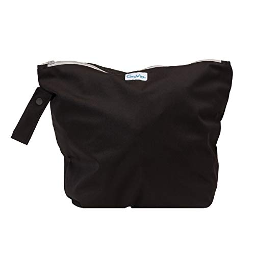 GroVia Reusable Zippered Wetbag for Baby Cloth Diapering and More (Jet)