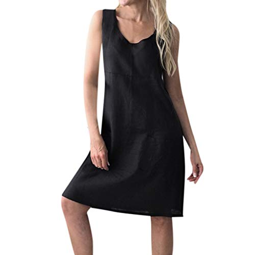 Sunhusing Ladies Casual Solid Color V-Neck Cotton Linen Pocket Sleeveless Dress Loose Casual Mini Dress Black