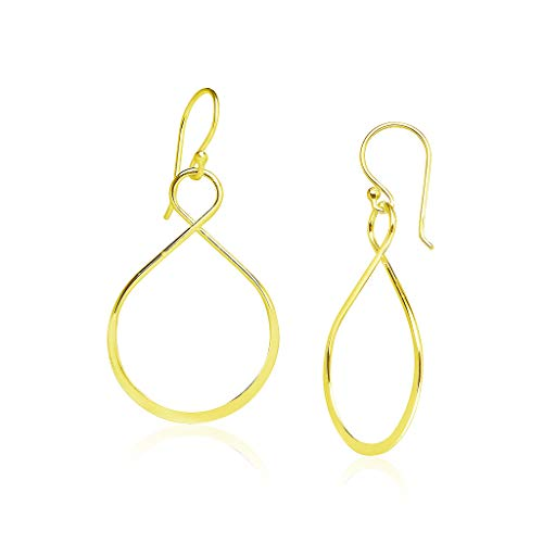(Sterling Silver Infinity Twist Dangle Earrings Yellow Gold Flashed Finish)