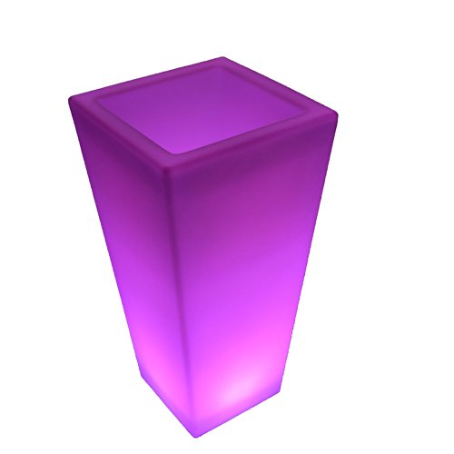 "LED Light up Flower Pot - 16 Different Colors Changeable Glowing Pot with Remote Control (Size: 31""height, Top: 15""w X 15""L, Base: 10""w X 10""L) by Eternity Led Glow"