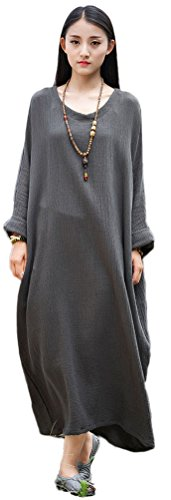 b2f2fc98c3 Soojun Women s Casual Cotton Linen Long Dress with Batwing Sleeve. by soojun.  Color  Style 2 dark Olive Green