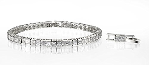 Square Cubic Zirconia Tennis Bracelet 18k White Gold Plated Classic Princess Cut White CZ Bangle Wedding Jewelry