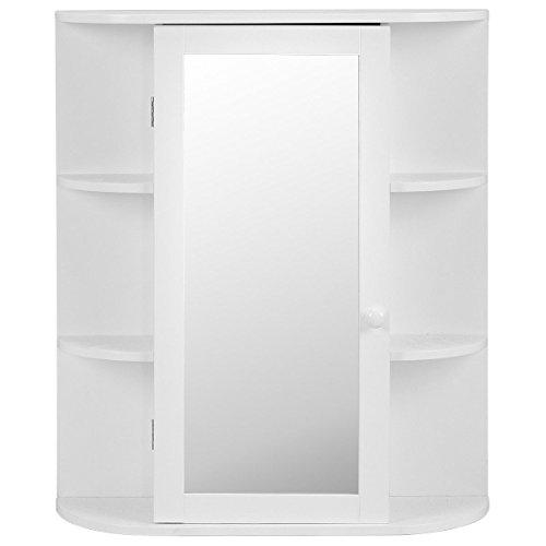 Bath 24' Glass Shelf (New White Bathroom Wall Cabinet Storage Organizer W/ Mirror Single Door Shelves)
