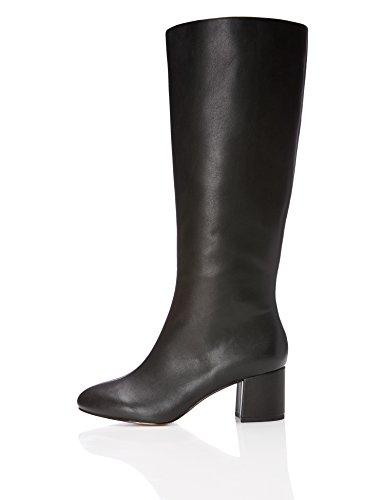 Absatzstiefel Leder FIND in Black Schwarz Optik Damen 6wq5wC