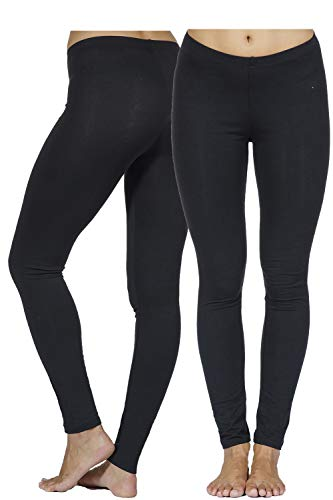 In Touch Cotton Spandex Leggings: Tights for Women, Running, Dance, Yoga, Hiking, and Fashion (Large, 2 Pack Black)