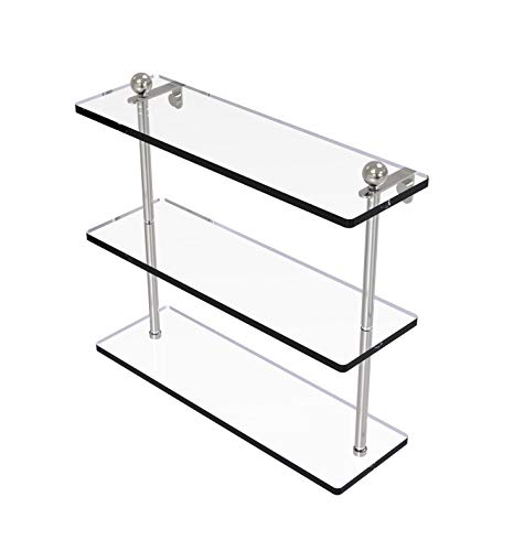Allied Brass PR-5/16 16 Inch Triple Tiered Glass Shelf, Satin Nickel