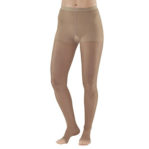 Ames Walker AW Style 33OT Sheer Support 20 30 Open Toe Compression Pantyhose Nude Queen Plus Fashionably Sheer Relieves Aching and Swollen Legs Effective Post sclerotherapy