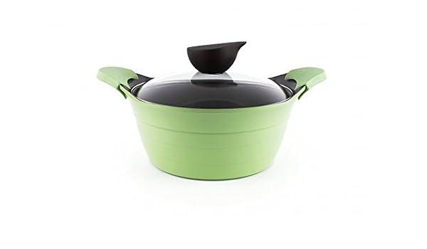 Neoflam EELA 4.5qt cerámica antiadherente cacerola w/tapa de cristal, Apple verde: Amazon.es: Hogar